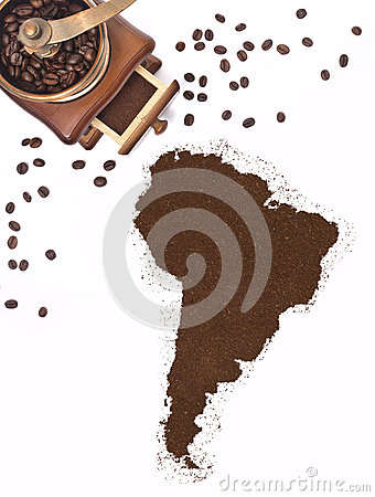 Free Coffee Powder In The Shape Of South America And A Coffee Mill.(series) Royalty Free Stock Image - 49084306