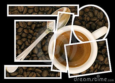 Coffee puzzle collage