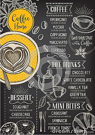 Free Coffee Restaurant Cafe Menu, Template Design. Stock Photo - 67469110