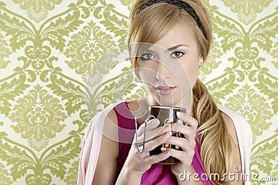 Coffee retro woman vintage cup portrait