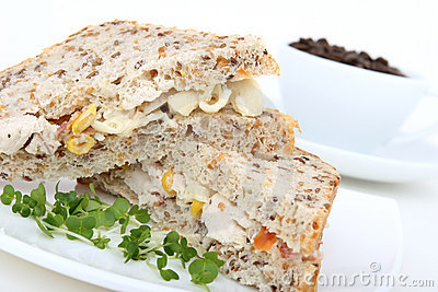 Coffee and sandwich breakfast / lunch