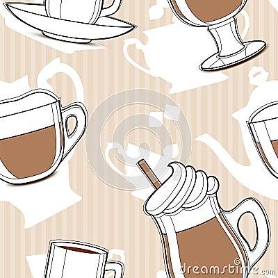 Coffee, seamless pattern