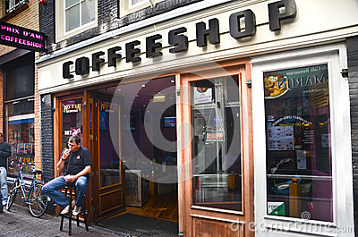 Coffee shop in Amsterdam Editorial Photography