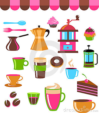 Coffee shop colourful icons / logo set