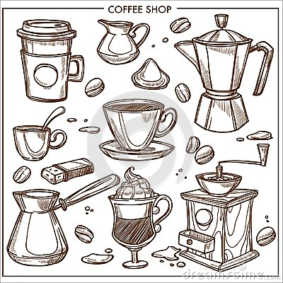 Free Coffee Shop Maker Equipment Tools Vector Sketch Icons Cup, Beans For Cafe Royalty Free Stock Image - 104726276