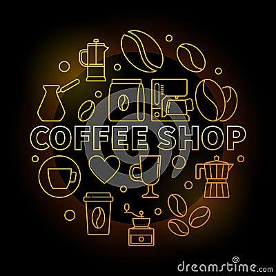 Free Coffee Shop Vector Round Golden Illustration On Dark Background Royalty Free Stock Photo - 107117785