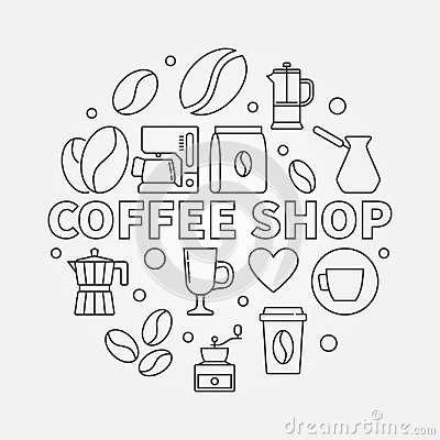 Free Coffee Shop Vector Round Illustration In Thin Line Style Stock Image - 111541921