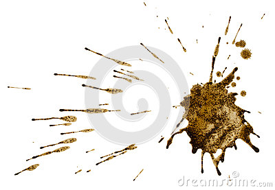Coffee splatter isolated on white. Path.