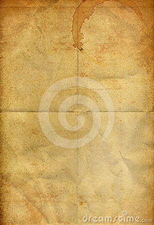 Free Coffee Stain On The Old Folding Grunge Paper Royalty Free Stock Image - 24553186