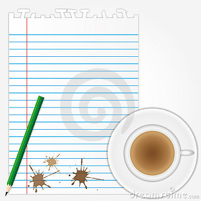 Coffee stains on blank paper sheet