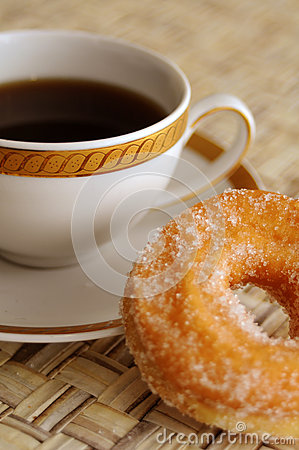 Coffee and sugar pastry