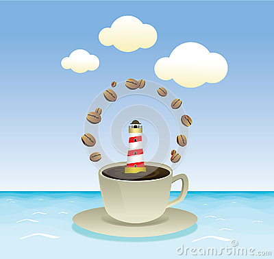 Coffee with summer sea  graphic