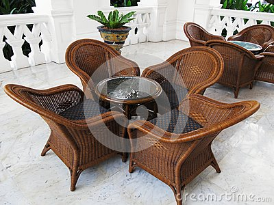 Coffee table and chairs in the tropics
