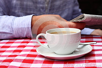 Coffee on table outdoor A