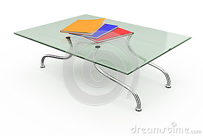 Coffee table with stack of magazines