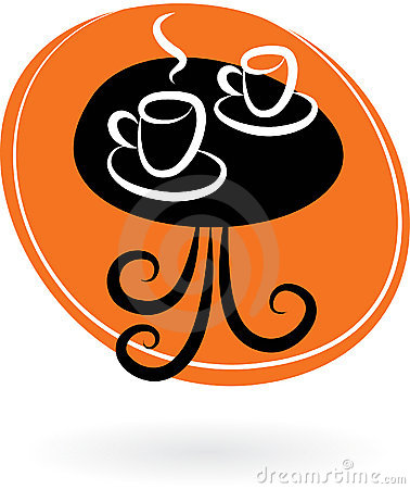 Coffee table with two cups - cafe logo