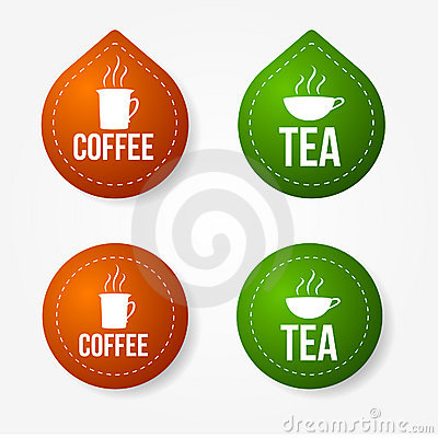Coffee and tea badges and stickers