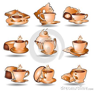 Coffee tea icon web collection