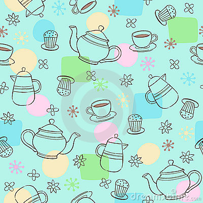 Coffee and Tea Seamless Repeat Pattern Vector