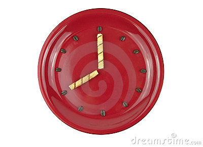 Coffee Time Concept with Clock Made of Coffee Bean