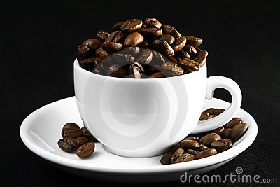 Coffee time, a cup of beans