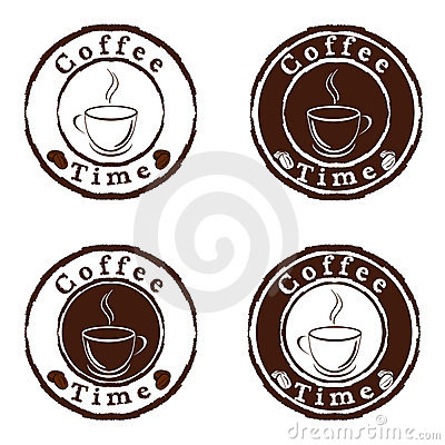 Coffee time stamps set