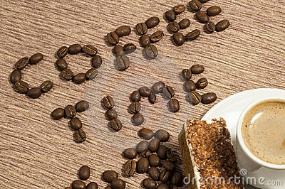 Coffee Time Written in coffee Beans