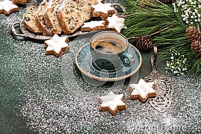 Coffee traditional Christmas cake Stohlen cookies Holidays food Stock Photo