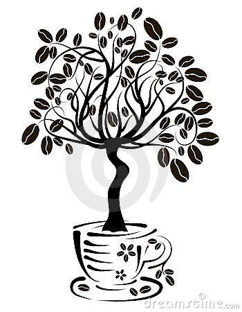 Coffee tree in a cup, vector