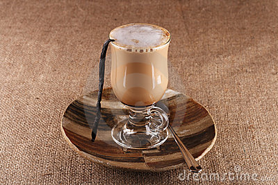 Coffee Vanilla Latte with bean in tall glass