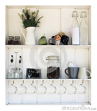 Coffee white shelves