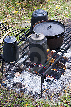 Coffee on Wood Campfire Cooking, Camp, Camping