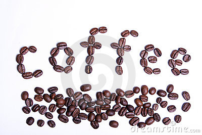 Coffee word written from coffee beans.