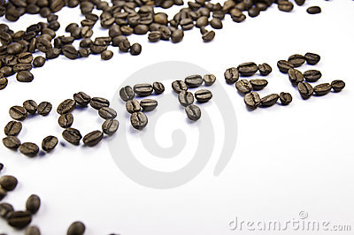 Coffee written with coffee beans