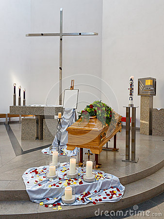 Coffin at Church before Funeral Service