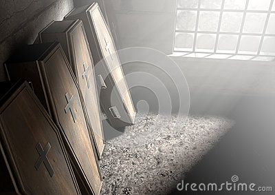 Coffin Row In A Room Stock Photo