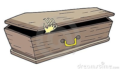 Coffin with waving hand