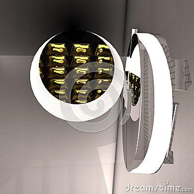 Coffre fort avec les lingots et la porte ouverte d 39 or illustration stock image 83737002 - Certificat d heredite avec porte fort ...
