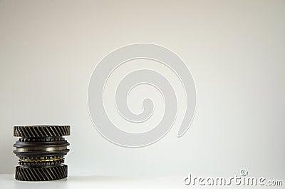 Cog wheels in the motor. Mechanism Stock Photo