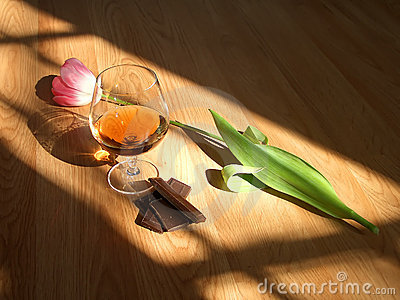 Cognac chocolate flower