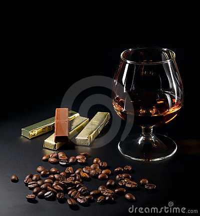 Cognac and coffe beans