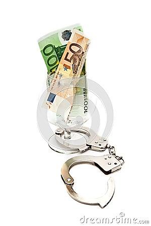 Cognac glass with money