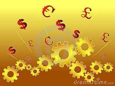 Cogs and currency symbol