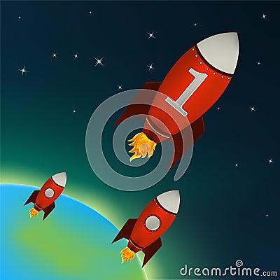 Cohetes rojos que vuelan en espacio exterior