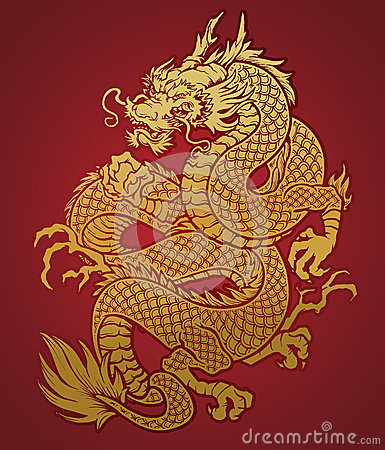 Free Coiled Chinese Dragon Gold On Red Stock Photography - 29859742