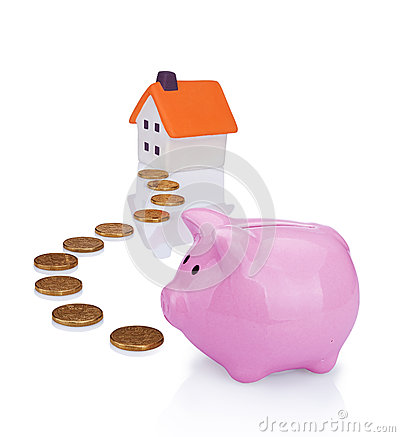 Free Coin Bank And House Royalty Free Stock Photography - 25340057