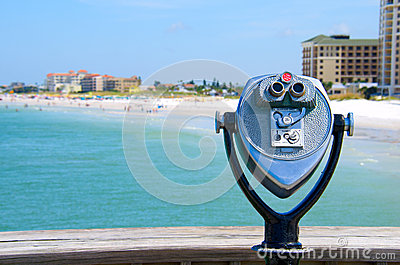 Coin operated high power binoculars at the beach