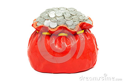 Coin pile up in red bag, made from plaster. isolated