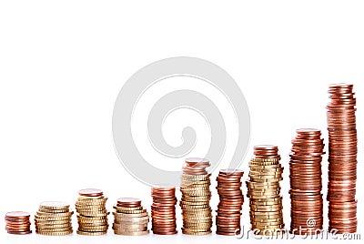 Coin piles climbing up
