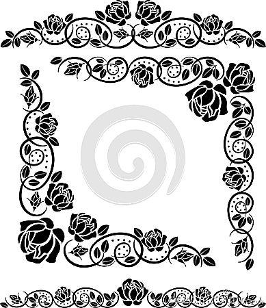 Coins avec des roses